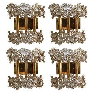 2 Pair of Brass and Crystal Glass Sconces by Palwa, Germany, 1970s For Sale