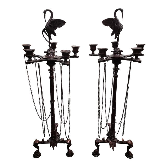 Mid 20th Century French Neo-Grecian Style Bronze Alloy Candelabras - a Pair For Sale