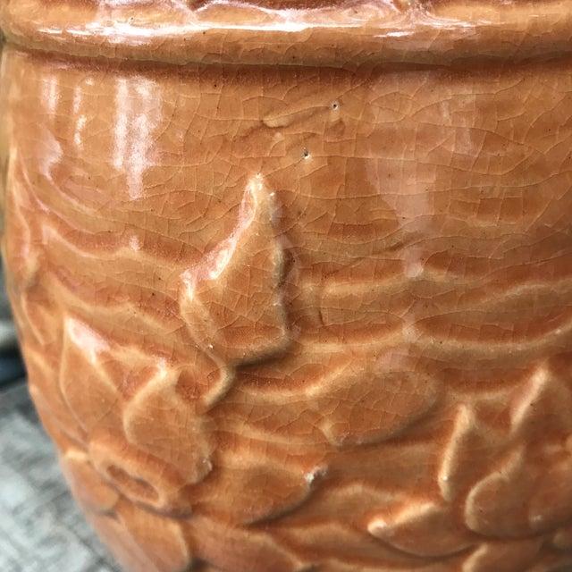 Orange 1930's Art Nouveau McCOY Stoneware Pottery Pitcher For Sale - Image 8 of 11