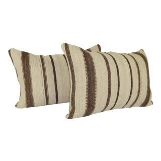 "Organic Reclaimed Turkish Hemp Kilim Lumbar Pillow 16"" X 24 "" For Sale"