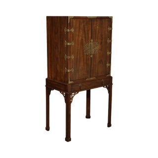Heritage Chinese Chippendale Style Vintage Walnut 2 Door Bar, Liquor Cabinet For Sale