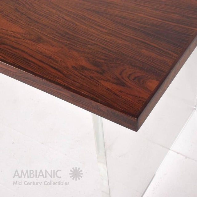 Brown Mid-Century Modern Rosewood and Lucite Table For Sale - Image 8 of 10