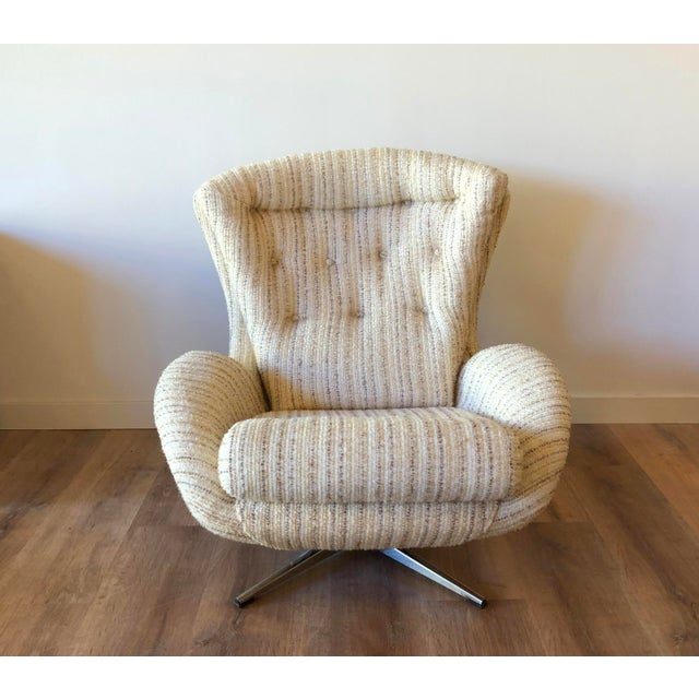 Antique White Mid-Century Swedish Tufted Egg Swivel Chair With Swivel Ottoman For Sale - Image 8 of 12