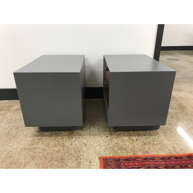 Wood Midcentury Walnut and Grey Painted Nightstands by Lane - a Pair For Sale - Image 7 of 8