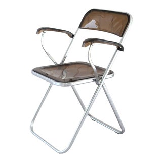 1960's Smoked Lucite and Chrome Folding Armchair For Sale