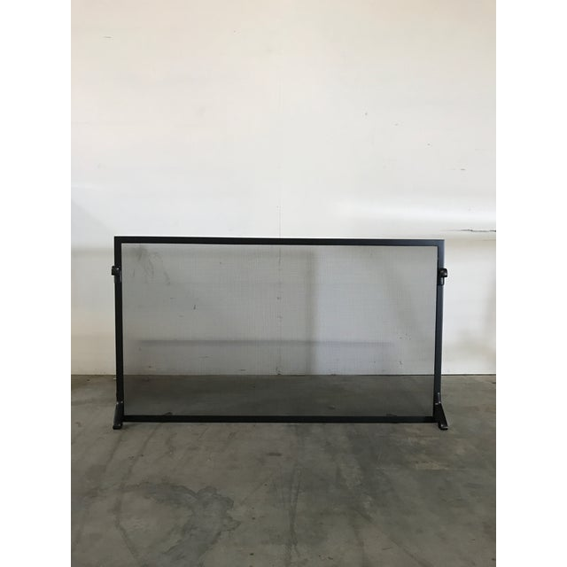 Custom Made Matte Black Metal Fire Screen - Image 2 of 6