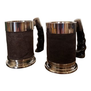 Pair of Silver Plated Leather and Horn Drinking Cups For Sale