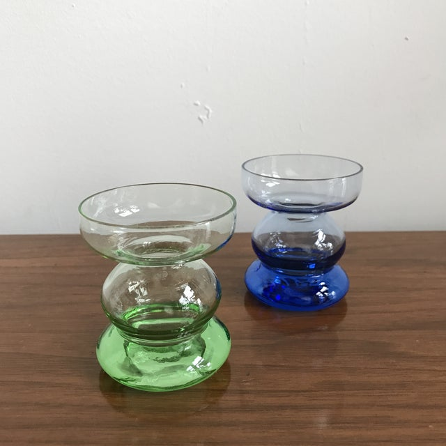 Mid Century Glass Candle Stick Holders - a Pair - Image 2 of 7