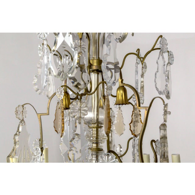 Tall Bronze Belle Epoque 21-Light Chandelier W/ Smoke & Mauve Crystals For Sale In San Francisco - Image 6 of 13