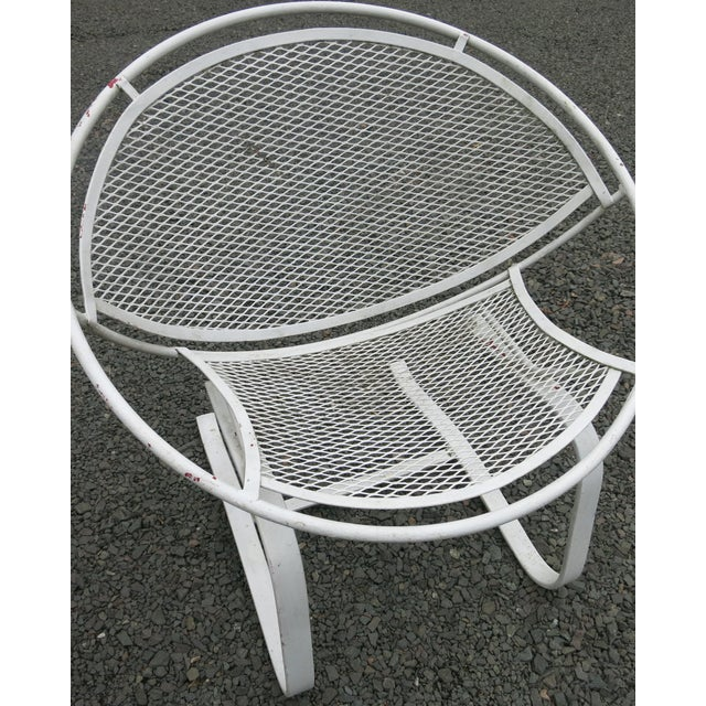 """Salterin radar chairs in old paint white over red. They are 30"""" high x 30"""" wide, 26"""" deep and the seat height is n 17""""...."""