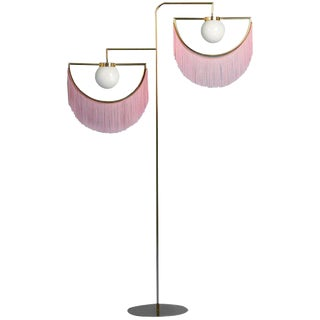 Wink Gold-Plated Floor Lamp Postmodernist Style With Cream Pink Fringes For Sale