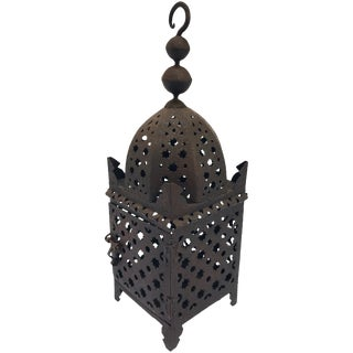 Moroccan Hurricane Moorish Metal Candle Lantern For Sale