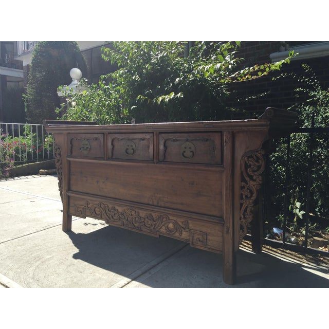 Antique Carved Wood Console - Image 2 of 10