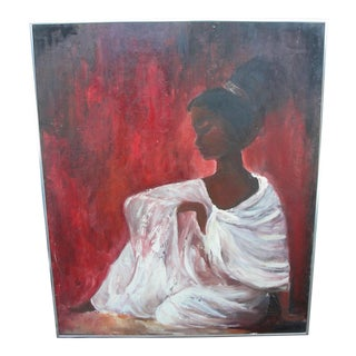 Vintage Mid-Century Oil on Board Portrait African Mother