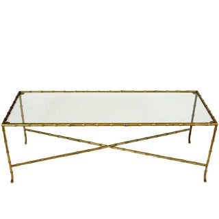 Brass and Glass Faux Bamboo Cocktail Table For Sale