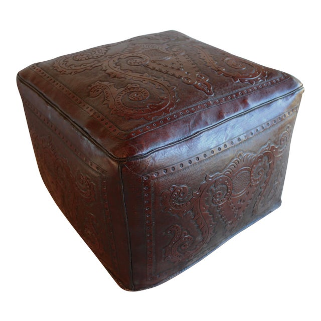 Extra Large Vintage Hand Tooled Peruvian Saddle Leather Angel Pazmino Style Ottoman For Sale