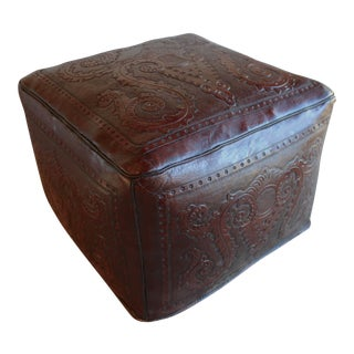Vintage Hand Tooled Peruvian Saddle Leather Ottoman For Sale