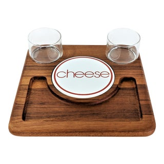 1970s Mid Century Modern Teak Cheese Tray Serving Dish For Sale