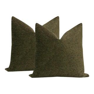 """22"""" Olive Bouclé Pillows - a Pair For Sale"""