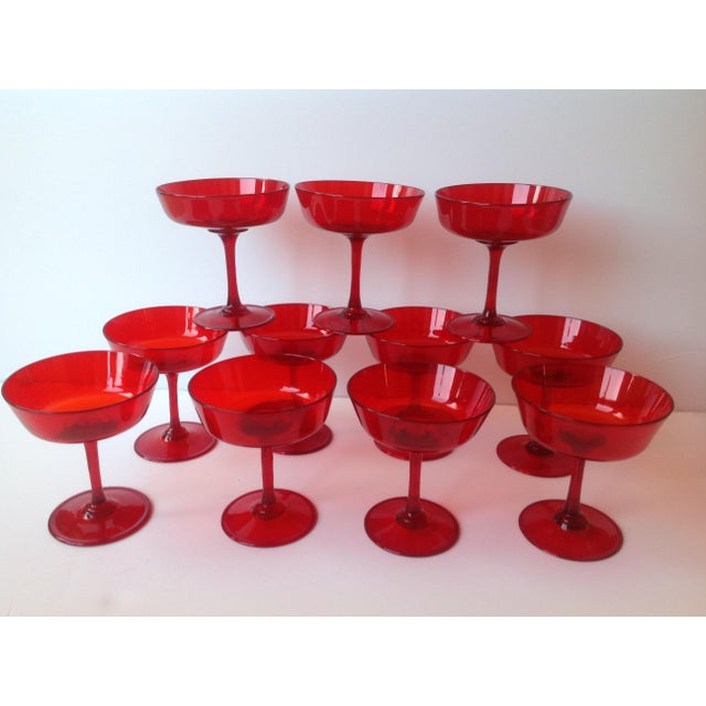 Mid-Century Ruby Red Crystal Coupe Champagne Glasses - Set of 11 For Sale - Image 6 of 6