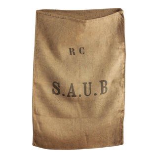 Jute Sack Vintage French Burlap Hessian Burlap Bag Industrial Rc Initials For Sale