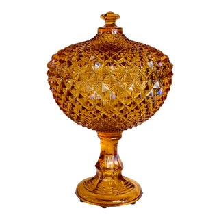Westmoreland Sawtooth Diamond Pattern Golden Sunset Amber Glass Compote For Sale