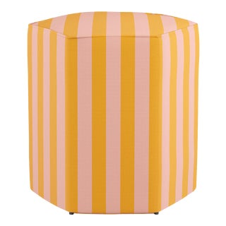 Hexagonal Ottoman in Pink Stripe
