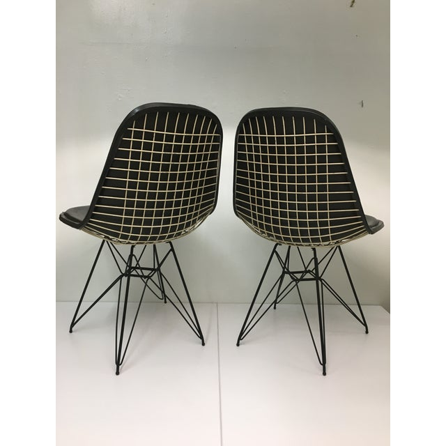 Herman Miller Vintage Eiffel Side Chairs in Black Naugahyde by Charles Eames for Herman Miller - a Pair For Sale - Image 4 of 13