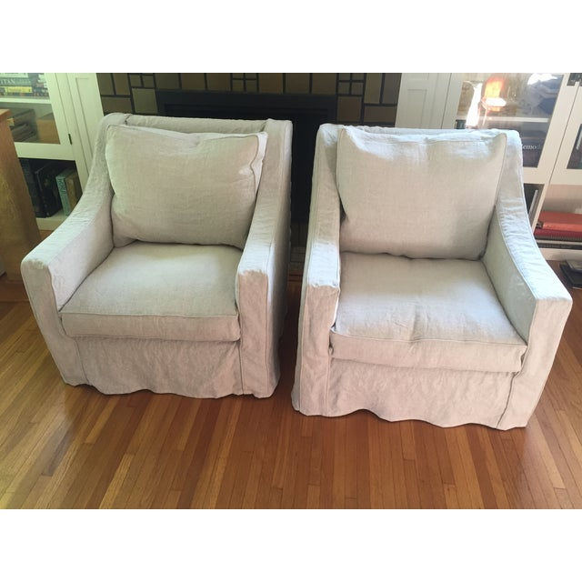 Designer Linen Slipcover Club Chairs - A Pair - Image 2 of 7