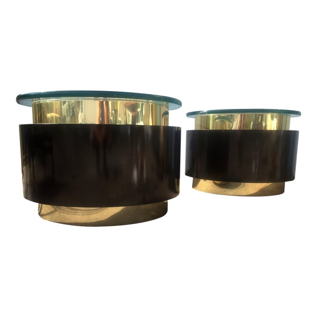 Gold & Black Tables - A Pair For Sale