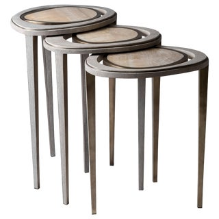Set of 3 Peacock Nesting End Table in Cream Shagreen Onyx, Brass by R&y Augousti For Sale
