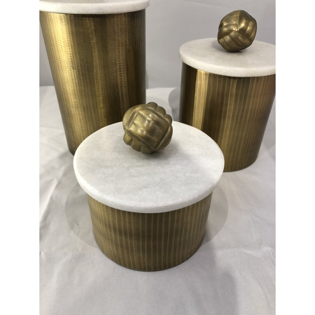 Metal Brass Canisters With Marble Lids - Set of 3 For Sale - Image 7 of 9