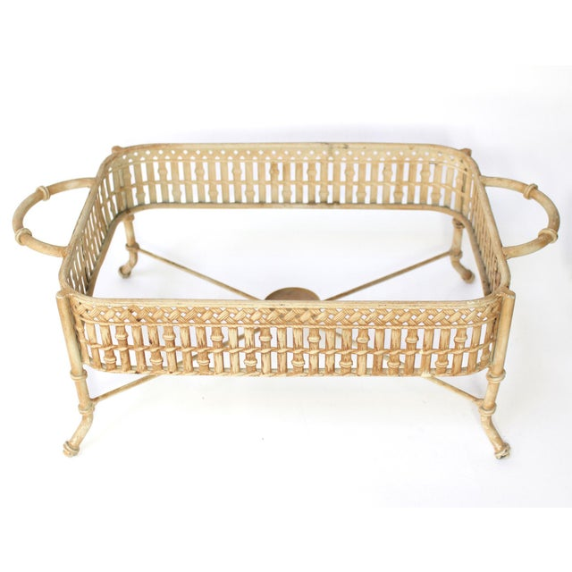 Chinoiserie Vintage Faux Bamboo Chafing Dishes - Set of 2 For Sale - Image 3 of 6