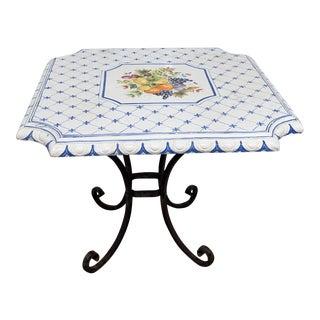 Cottage Porcelain Top Center Table For Sale