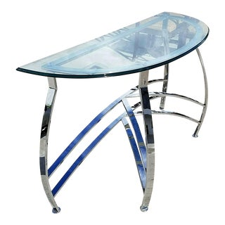 Demilune Chrome Ogee Beveled Glass Console For Sale