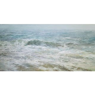 "Beckham Oil Painting ""September Sea"", Large Blue Green Seascape For Sale"