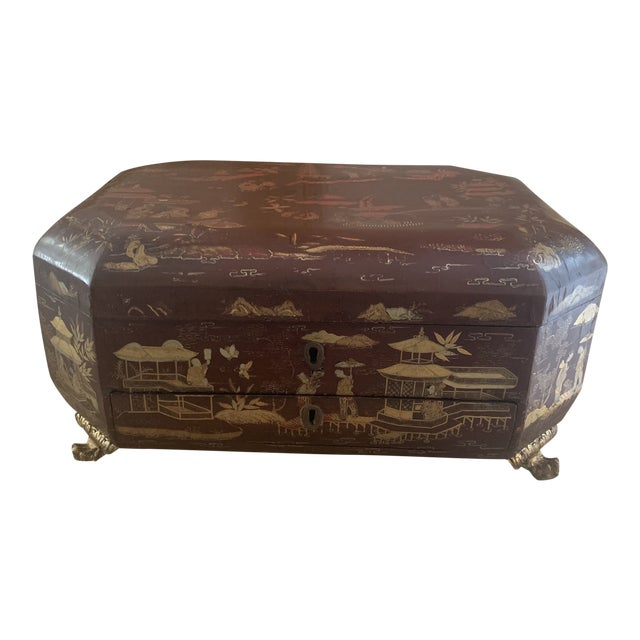 Antique Chinese Iron Red Lacquered Sewing Box on Feet With Drawer For Sale