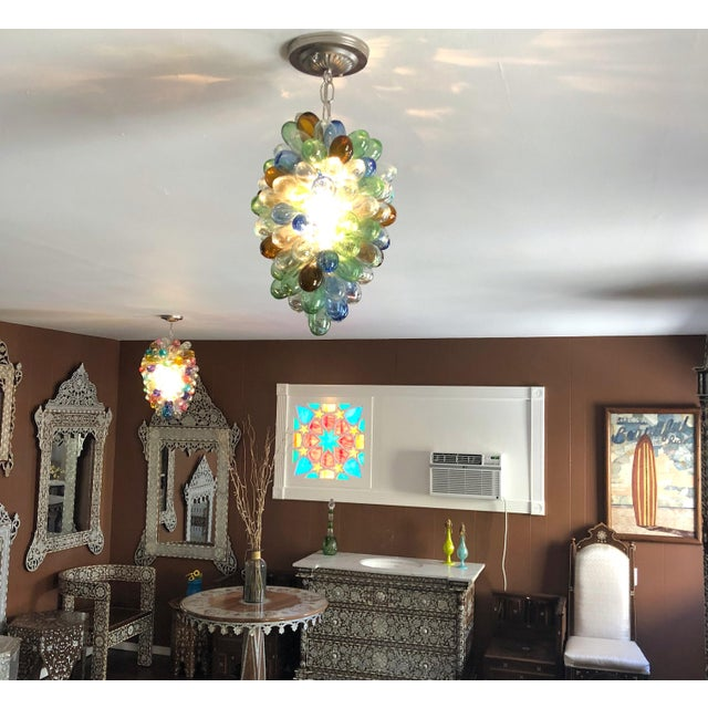 Contemporary Colorful Balloon Shape Handblown Glass Light Fixture For Sale - Image 3 of 9