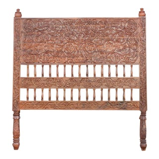 Hand Carved Bohemian Amarante Headboard For Sale