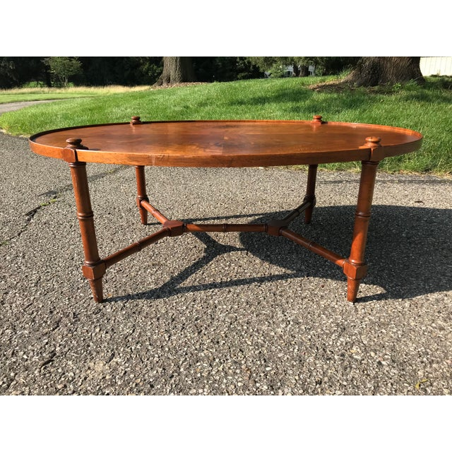 Modern Oval Walnut Coffee Table For Sale - Image 3 of 9