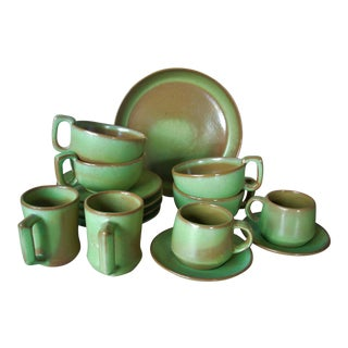 1950s Green Frankoma Snack Set - Set of 15 For Sale