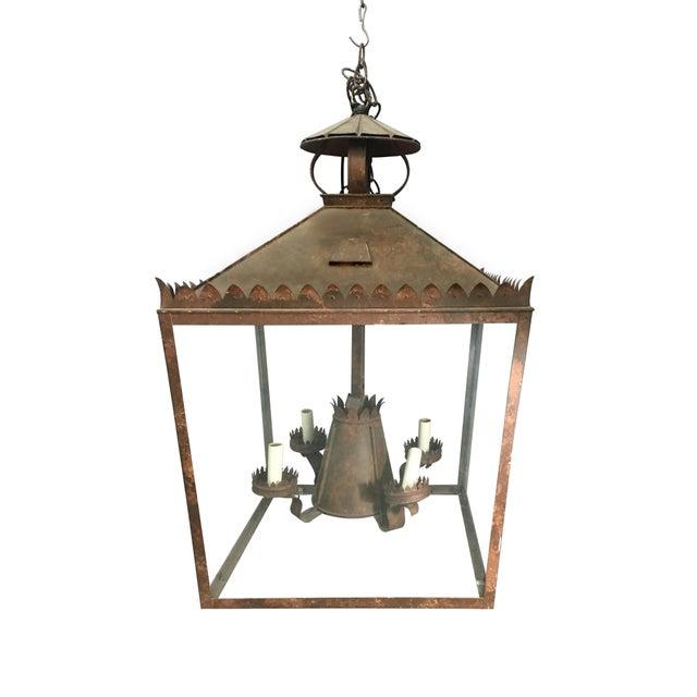 1970s Vintage Tole Faux Bronze Lantern For Sale - Image 5 of 5