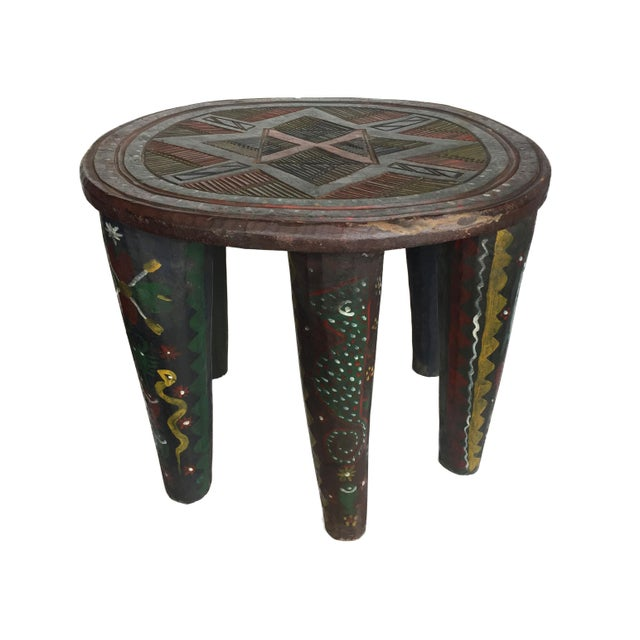 This is a large fabulous Hand Carved and Hand Painted Wood Stool from the Nupe Tribe of Nigeria. These stools are carved...