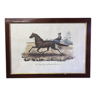 Early 20th Century Antique 'The Trotting Horse Axtell' Framed Hand-Colored Print For Sale