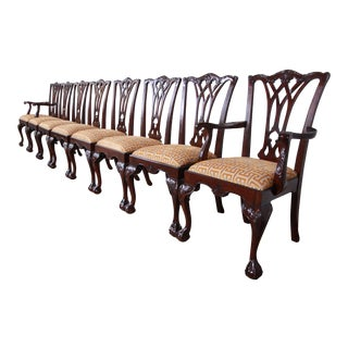 Drexel Heritage Chippendale Carved Mahogany Dining Chairs - Set of 8 For Sale