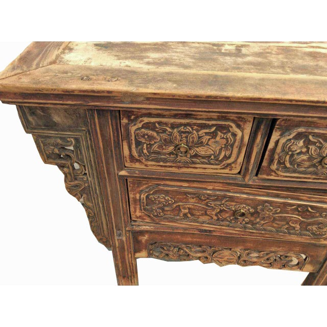 Carved Three Drawers Chinese Antique Cabinet - Image 4 of 7 - Carved Three Drawers Chinese Antique Cabinet Chairish