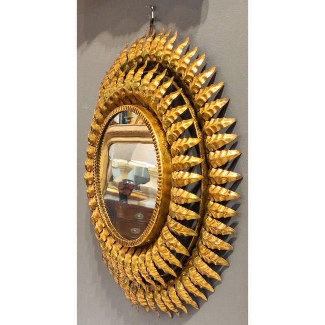 French Gilt Metal Sunburst Mirror For Sale - Image 9 of 13