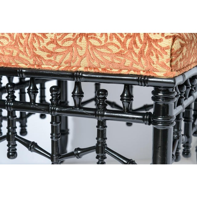 Chinoiserie Black Faux Bamboo Wood Ottomans With Coral Velvet Motif, A-Pair For Sale In West Palm - Image 6 of 9
