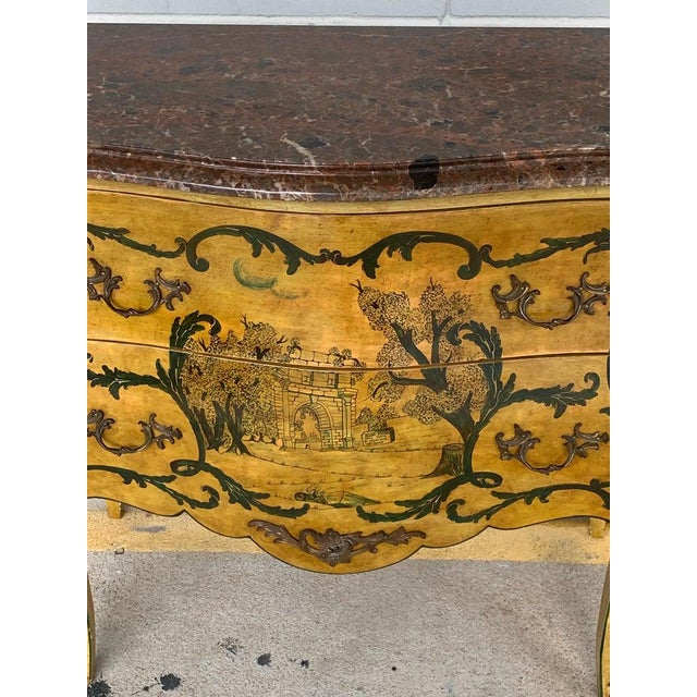 Fine Italian Piranesi Topographical Polychromed Marble Top Commode For Sale - Image 12 of 13