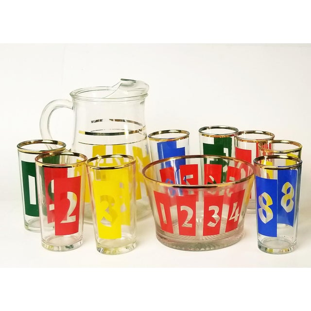 Mid-Century Decanter, Ice Bucket and Highball Glasses Numbered in Bright Primary Colors - Set of 10 For Sale - Image 13 of 13